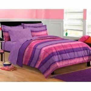 Twin XL Full Queen Bed Bag Pink Purple Stripe Tie Dye 7 pc Comforter Sheet Set