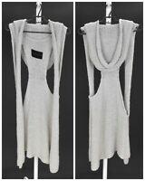 Womens Aleksandr Manamis Long Knit Cardigan Jumper Vest Grey Lagenlook One Size