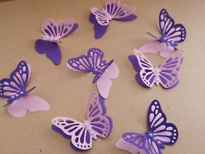 15x 3D paper butterflies Birthday, Wedding Party table decoration purple & pink