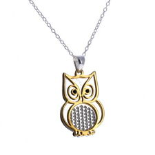 Owl Two Tone Necklace, Sterling Silver, Gold Vermeil, Laser Cut Design