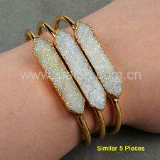 5Pcs Titanium AB Natural Druzy Agate Bar Point Bangle With Gold Plated GG0645