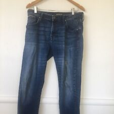 Mavi Jeans Black Edge 33/32 Mens Distressed Worn In Blue Denim