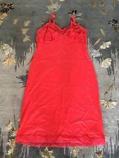 New listing vintage Red Rogers Nylon full dress slip size Medium Lace trim Pin Up Girl C44