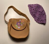 American Girl Doll Julie Meet Accessories Purple Hat Beanie Flower Purse Bag