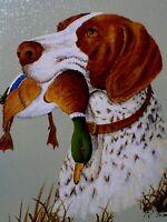 Hunting Dog Portrait w Mallard Duck Original R Smith Oil Canvas Painting Vintage