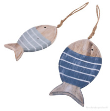 Holz Fische Deko Hänger Maritime Dekoration Blau Weiss Natur Beach Style 2 Stück
