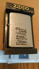 1990s  Zippo lighter Serenity Prayer saying brushed chrome finish used No Box