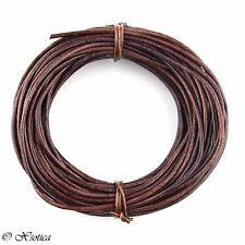 Brown Distressed Round Leather Cord 1.5mm 10 meters (11 yards)