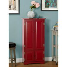 Tall Red Storage Cabinet Kitchen Pantry Cupboard China Armoire Country Cottage