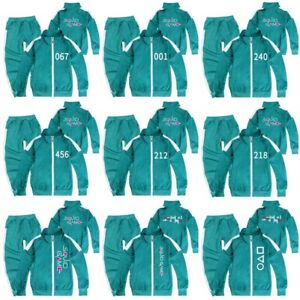 Kids Squid Game Costume Coat Jacket Tops+Pants Tracksuit Outfit 456/067/001/218