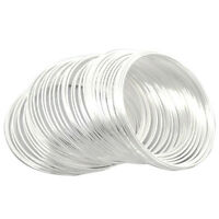100Loops Silver Plated Memory Beading Wire for Bracelet 50mm-55mm Q5E6