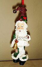 "Santa Claus Elf Ornament Figurine Christmas Holiday 5.75"" Scroll Bell"