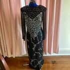 Vintage Black Beaded Dress Silk Maxi 80s 90s Evening Gown Formal Sequins Size M
