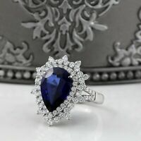5Ct Pear Cut Blue Sapphire Vintage Cocktail Engagement Ring 18K White Gold Over