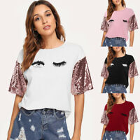 Women Short Sleeve Sequin T Shirts Fashion Ladies Summer Casual Blouse Top Shirt