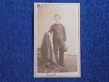 """Young Boy """"Zack"""" with Hand-Tinted Rosy Cheeks & Hat in Hand/1870s Albumen CDV"""