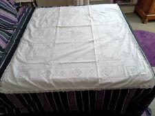 Housse d'édredon ancienne en coton, brodée,  monogramme PS, 122x138 cm