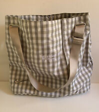 Nike Tote Bag Plaid Grey Tan White Business Logo Embroidered Tote Messenger Bag