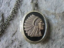 BRONZE NATIVE AMERICAN INDIAN LOCKET ON BLACK BACKGROUND - CHIEF, TRIBAL, INDIAN