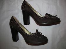 JUICY COUTURE suede and moc croc kiltie tassel bow pumps shoes 7 M ITALY
