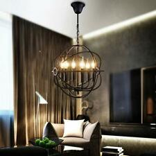 Industrial Vintage Retro Pendant Light 6 Candle Edison Round Shade Chandelier