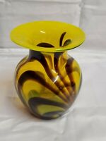 Art Glass Vase Swirls Yellow Brown Blown Glass Decor MCM Mid - Century