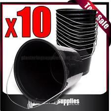 10litre Durable Soft Tradesman Plastic Buckets x 10  Black FREE POSTAGE