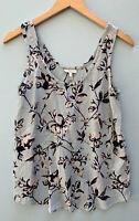 JOIE Silk Top Small Blue Floral Tank Sleeveless Annabeth Shirt Flowy Blouse