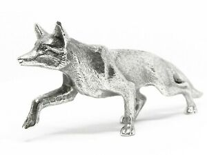 Large English Made Solid Sterling Silver Fox model Figurine with full Hallmarks