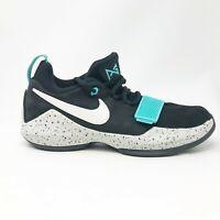 Nike Boys PG 1 GS 880304-002 Black Light Aqua Running Shoes Lace Up Size 7Y