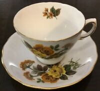 Vintage Queen Anne Footed Cup Saucer Set~Orange Yellow Roses~8287~Floral Bouquet