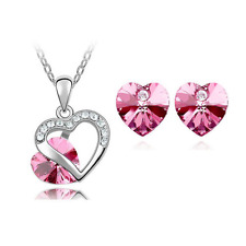 Pink Heart Crystal Pendant Necklace Chain and Earrings Wedding Jewellery Set