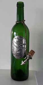 Empty Vintage French Wine Bottle Green 75cL Bergerac Dolphin Cork topper 2002