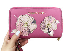 Michael Kors Jet Set Travel Wallet Phone Wristlet Tulip Pink Floral Studded