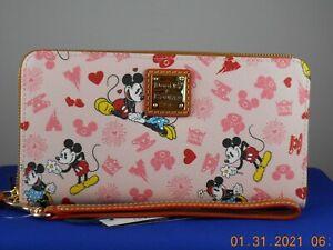 Disney Dooney Bourke Pink VALENTINE'S DAY Mickey Minnie Zip Wallet Wristlet #2