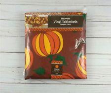 Vinyl Tablecloth Fall Pumpkins Thanksgiving Halloween 60 Inch Round