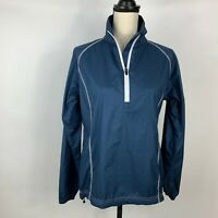 Peter Millar Womens Small Light Weight Windbreaker 1/4 Zip Long Sleeve Blue