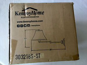 """Kenroy Home Kingston 14"""" Brushed Steel Swing Arm Wall Lamp Silver Taupe Shade"""