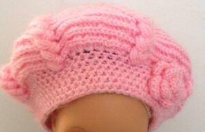 Handmade Knitting Crochet Girls Hat Pink Size 6-7