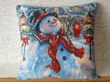 Kissenhülle, Kissenbezug, Dekokissen, Weihnachten, lustiger Schneemann 40x40 cm