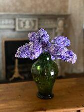 Vintage Miniature Dollhouse ARTISAN Hand Crochet Lilacs In Green Glass Vase 1960