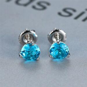 8mm Natural Aquamarine Round 925 Sterling Silver Stud Earrings UK Seller