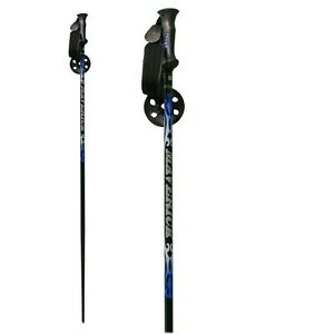 "New Whitewoods Maverick Alpine Downhill Adult Alum. Ski Poles 44""-54"" Black/Blue"
