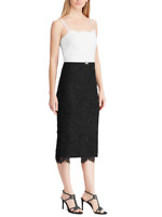 LAUREN RALPH LAUREN Women's Mai Lace Two-Tone Midi Dress (Black/White)