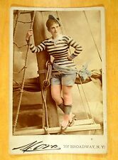 Catherine Lewis RISQUE Busty Actress NAUTICAL Tinted CABINET PHOTO 1870s MORA NY