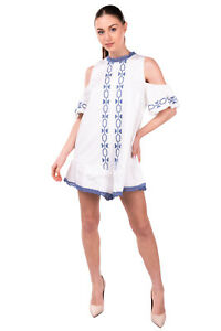 RRP €175 FOXIEDOX Playsuit Size S Lace Trim Embroidered Gathered Cold Shoulder