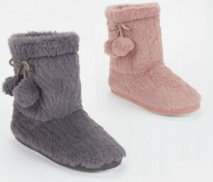 LADIES WOMENS WARM BOOTIE POM POM BOOTEE WINTER ANKLE BOOTS SLIPPERS SIZE 3-8