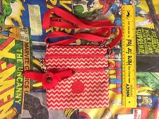 Small KIPLING BAG, RED AND WHITE ZIG ZAG PATTERN With Red Monkey Named Zoe