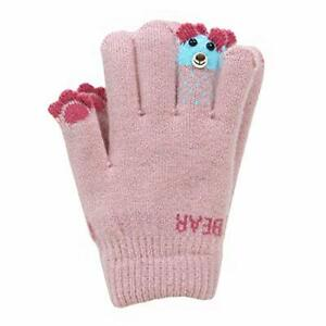 Kids Winter Gloves Knitted Fleece Lined Gloves for Boys Girls 4-10 Years Pink