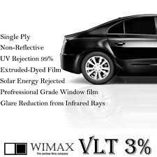 """Wimax Limo Dark Black 3% VLT 30"""" In x 30' Ft Feet Uncut Roll Window Tint Film"""